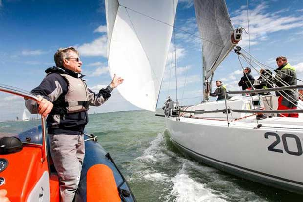 Jim Saltonstall offers his expert advice. Crews appreciated the coaching laid on by the RORC and the team at North Sails UK © Paul Wyeth / pwpictures.com http://www.pwpictures.com