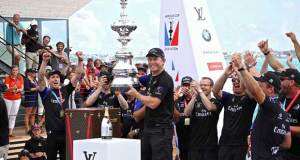 Shore team and boatbuilding co-ordinator, Sean Regan holds the America's Cup at the presentation to Emirates Team NZ after their win in the America's Cup 2017, June 26, 2017 - Great Sound Bermuda Richard Gladwell www.photosport.co.nz