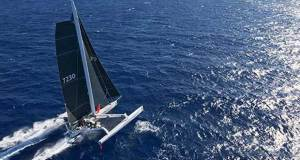 Mighty Merloe crosses the finish line to be first home and set a new record in the 2017 Transpac © Sharon Green / Ultimate Sailing