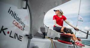 Sam Davies racing on Tanguy de Lamotte's IMOCA 60 Initiatives Coeur approaches Land's End – Rolex Fastnet Race © Initiatives Coeur