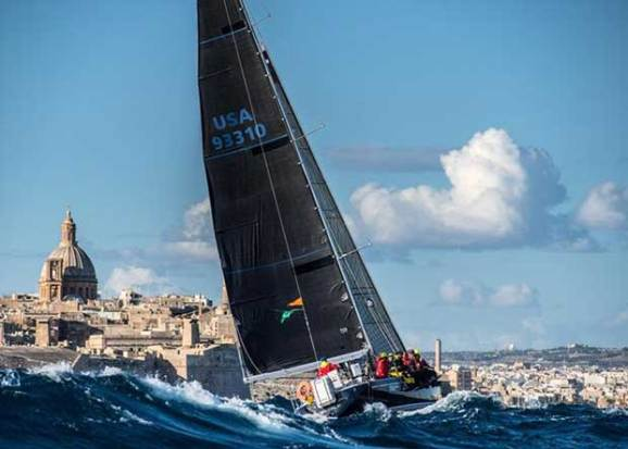 Joseph Mele's American Swan 44 Triple Lindy is the provisional winner of IRC 5 – Rolex Middle Sea Race © Rolex/ Kurt Arrigo http://www.regattanews.com