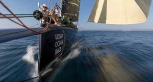 Prologue start on-board Turn the Tide on Plastic. The fleet departs Lisbon on day 1 of the Prologue. Photo by Sam Greenfield/Volvo Ocean Race. 08 October, 2017 © Volvo Ocean Race http://www.volvooceanrace.com