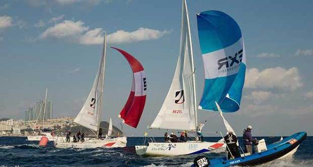 Day 2 – Anna Östling (SWE) and Alexa Bezel (SUI) battle downwind in the breeze – Busan Cup Women's International Match Race © Kim Wolf / Busan Cup