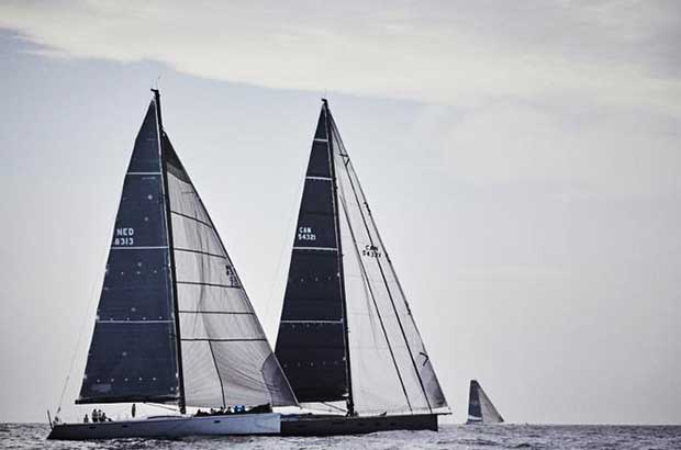 Aragon, 2016 race winner; Southern Wind 96 Sorceress and Ludde Ingvall's Australian Maxi CQS at the start of the RORC Transatlantic Race from Lanzarote on Saturday 25 November © James Mitchell / RORC