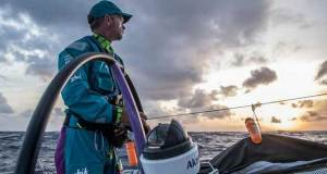 Day 7, Leg 2, Lisbon to Cape Town, on board AkzoNobel. Chris Nicolson at his early morning post – Volvo Ocean Race © James Blake / Volvo Ocean Race