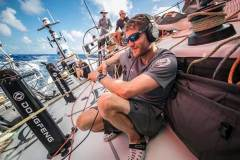 Day 10, Leg 2, Lisbon to Cape Town, sunrise on board Dongfeng. First live ever done between two skippers: Charles and Xavi talking to each other. 14 November © Jeremie Lecaudey / Volvo Ocean Race