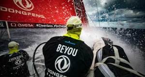 Day 3, Leg 2 – Lisbon to Cape Town – Downwind fast with clouds on board Dongfeng – Volvo Ocean Race © Jeremie Lecaudey / Volvo Ocean Race