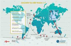 2018 Golden Globe Race course © 2018 Golden Globe RaceBernard Moitessier's original Joshua under full sail - this classic yacht is now managed by the French National Maritime Museum in La Rochelle, and will attend the start of the 2018 Golden Globe Race in Plymouth next June ©McIntyre AdventureJean-Luc van den Heede (72) sailing his Rustler 36 MATMUT. The Frenchman has completed 5 circumnavigations already and is one of the favourites to win the 2018 Golden Globe Race ©Jean-Luc van den Heede previous next