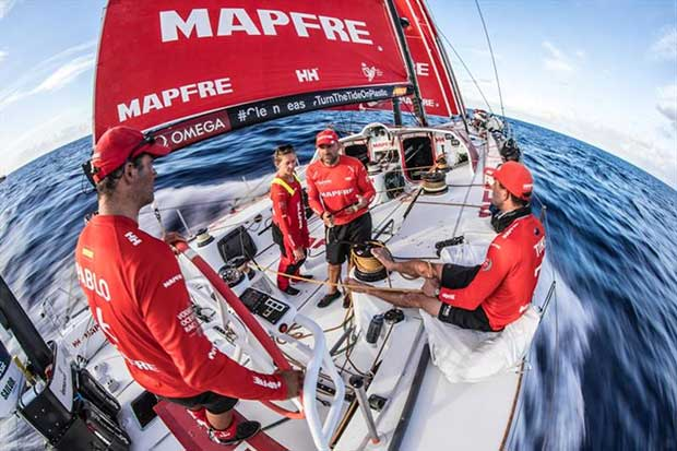 Volvo Ocean Race Leg 4, Melbourne to Hong Kong, day 04 on board MAPFRE, Xabi comenting the last sched with the crew on watch, Pablo, Sophie and Blair. © Ugo Fonolla / Volvo Ocean Race