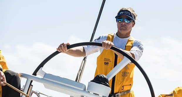 Leg 4, Melbourne to Hong Kong, Day 13 onboard Turn the Tide on Plastic. Liz Wardley driving the VO65 as fast as she can to Hong Kong. - photo © Brian Carlin / Volvo Ocean Race
