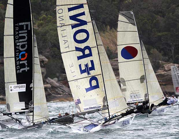 The fleet works into the windward mark in Rose Bay - 18ft Skiffs Australian Championship 2018 - photo © Frank Quealey