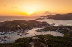 A spectacular sunset over English and Falmouth Harbours in Antigua - photo © RORC / Arthur Daniel