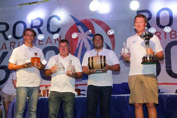 Crew from Rambler 88 collect the RORC Caribbean 600 Trophy for the best corrected time under IRC after setting a new monohull course record - photo © RORC / Tim Wright / www.photoaction.com