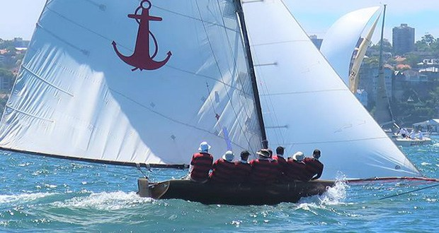 Yendys powering to windward under big rig in Race 1 - 18 Foot Skiff Australian Championship Regatta 2018 © SFS Volunteer, Adrienne Jackson