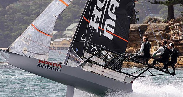 Honda Marine in a gust after rounding the Shark Island mark during 18ft Skiff JJ Giltinan Championship Race 3 © Frank Quealey