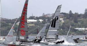 Yamaha and Thurlow Fisher Lawyers reaching on the run to the bottom mark in 18ft Skiff 2017 JJ Giltinan Championship race 7 © Frank Quealey