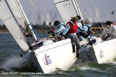 Racing on the final day of the RYA Women's Winter Challenge match racing at Queen Mary © Paul Wyeth / www.pwpictures.com