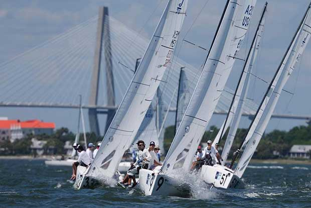 Oivind Lorentzen's J/70 Nine leads his fleet as they beat to windward just south of the Ravenel Bridge. Nine sits in third place after the first day of racing at Sperry Charleston Race Week 2017. - photo © Tim Wilkes / Charleston Race Week