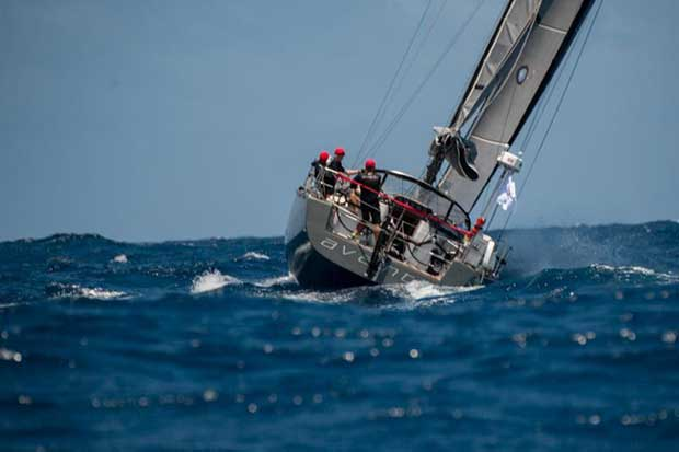Vying for a podium place: Jeremi Jablonski's Hanse 43 Avanti (USA) at the start of the Antigua Bermuda Race © Ted Martin