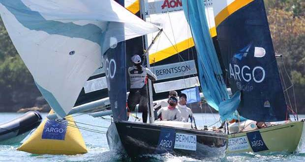 Taylor Canfield's USone team leads Johnie Berntsson - 2018 Argo Group Gold Cup - Day 1 - photo © Charles Anderson / RBYC