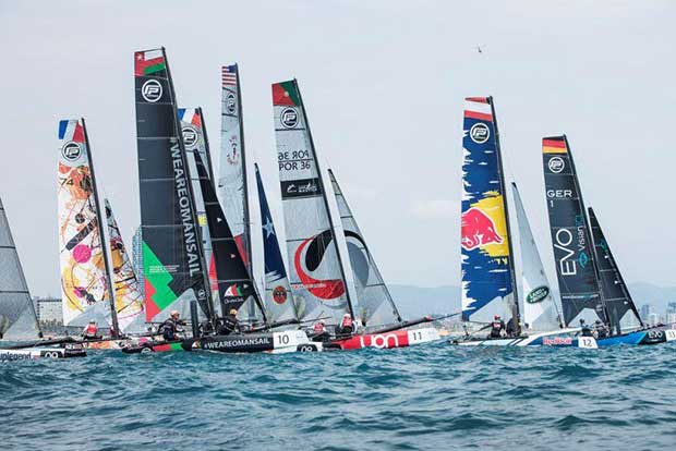 The Flying Phantom Series battling out the start - Extreme Sailing Series Barcelona 2017 - photo © Lloyd Images