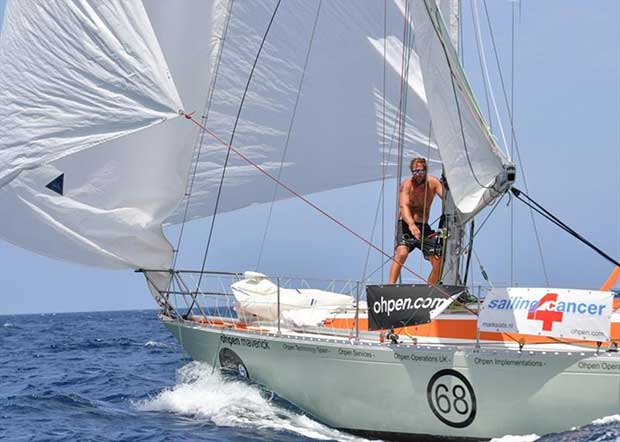 Mark Slats (NED) sailing the Rustler 36 Ohpen Maverick is relishing the sleigh ride conditions in the trade winds and keeping the pressure on race leader Philippe Péché © Christophe Favreau / PPL / GGR