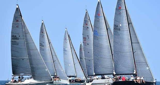 Norboy (Bow No. 11), the Chicago boat co-owned by Leif Sigmond and Marcus Thymian, leads the fleet during an upwind leg of the Verve Cup. - photo © Farr 40 Class Association