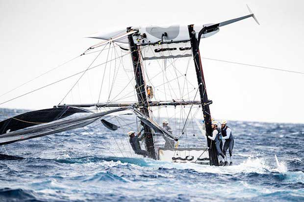 Jason Carroll's Argo took a tumble but was quickly righted with no injury to boat nor crew on day 1 of the GC32 Villasimius Cup © Sailing Energy / GC32 Racing Tour