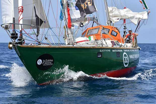 Gregor McGuckin (IRE) on his Biscay 36 ketch Hanley Energy Endurance, before loosing his sticks; Christophe Favreau / PPL / GGR