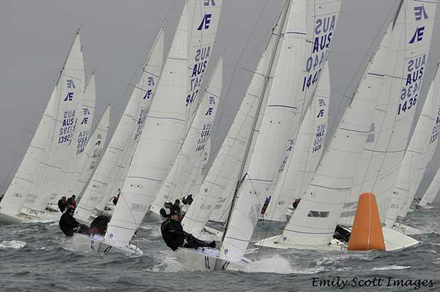 Triad2 with Magpie (Graeme Taylor, James Mayo and Steve Jarvin) in close behind during the 2018 Etchells Queensland State Championship in Brisbane - photo © Emily Scott Images