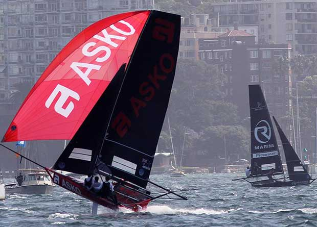 Asko Appliances heads for the bottom mark as R Marine Pittwater turns to head back upwind-1 - photo © Frank Quealey