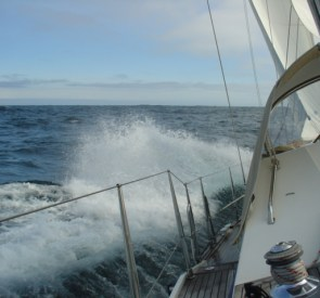 Close hauled using staysail