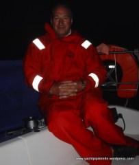 Bob night sailing on Azrar III - August 2004