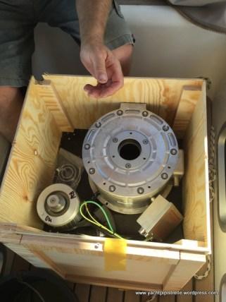 New generator windings arrive in box. Weight 80kg