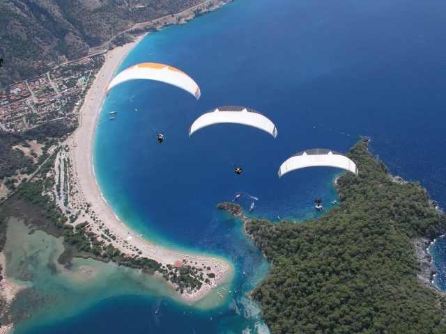 Paragliding off Mt. Babadag in Oludeniz Fethiye Turkey