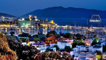 Bodrum harbour at night