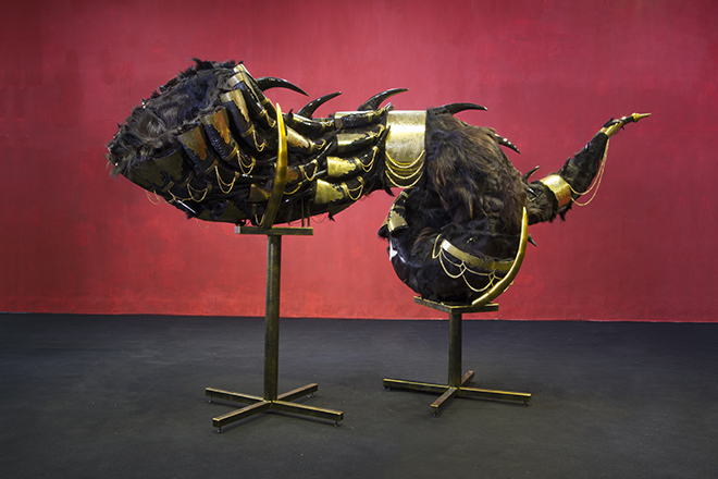 The Sound Of The End is the New Beginning. Size: LxWxH. 380x140x132cm3. Medium: Buffalo horn, Goat hair, Metal, Brass etched, Electronic Motion Sensor, Wire. Year: 2015 – 2017. Exhibited: 2016. Art Stage Singapore.2017. Golden Landscape 'Lugas Syllabus Solo Show ' Katamsi Gallery Indonesian Institute of Art.2019. Pholypony South East Asia. Nanjing Museum of Art, China.