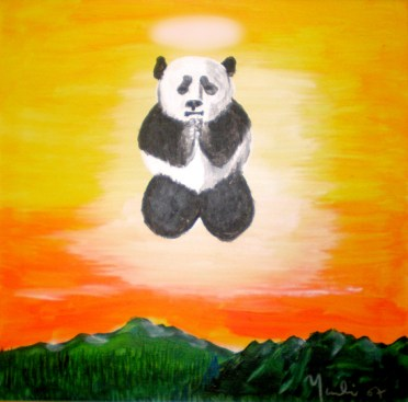 """Praying Panda: Acrylic on Canvas: 14""""x14"""" 2008: Private Collection"""