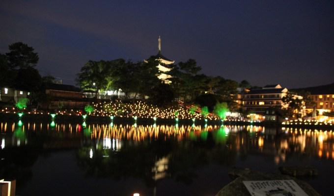 A fireworks party, a lantern light wraps the city of Nara