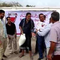 تدشين عملية توزيع السله الغذائية المقدمة من مملكة البحرين في خور مكسر بعدن