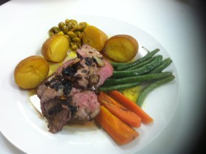 Roasted lamb, with rosmary lemon sauce