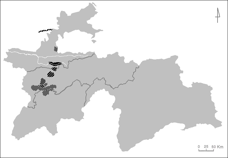 Main areas populated by Yaghnobi speakers in Tajikistan