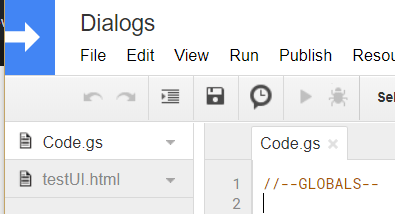 Project Name Google Apps Script