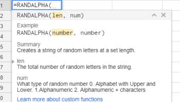 Google Sheets - Random Alphabetic, Random Alphanumeric and