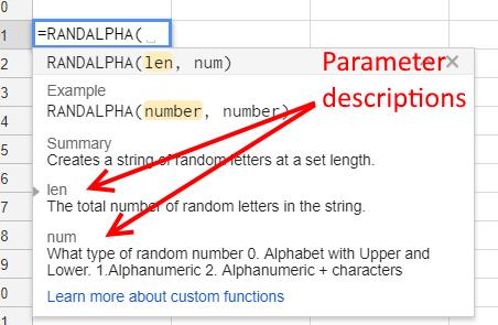 Custom Function Parameter Descriptions - Google Sheets