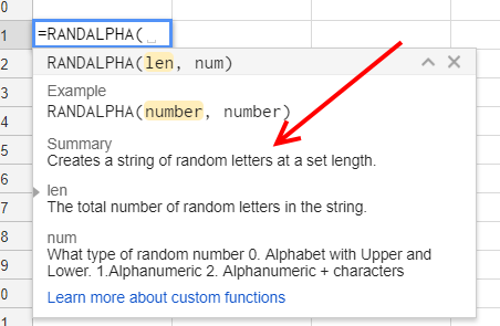 Custom Function Summary - Google Sheets