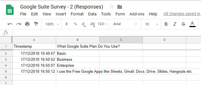 Google Sheet Form Results