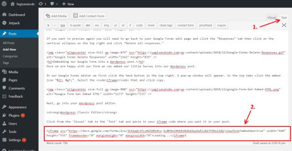 Wordpress embed google Form