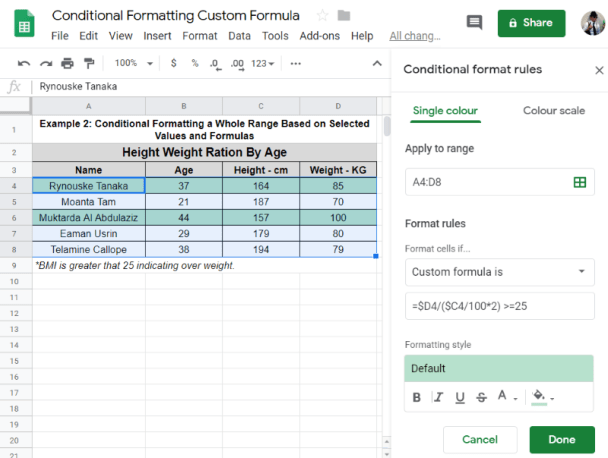 Conditional Format Entire Row Google Sheets with formulas