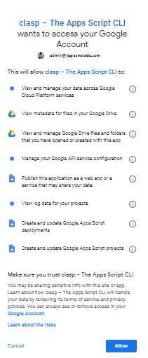 google clasp login permissions